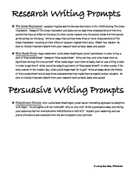 Thanksgiving Mini Unit! Thank You Ma'am, Langston Hughes -Writing Prompts & Quiz