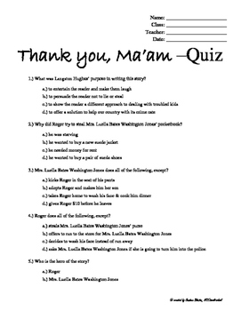 Thank You Ma'am, Langston Hughes -Quiz, Answer Key + writing prompts (bundled)