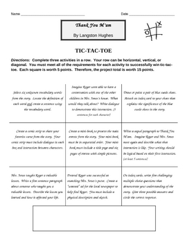 Thank You M'am ~ Langston Hughes ~ Differentiated Project  TIC-TAC-TOE