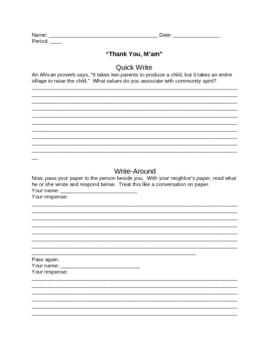 """Thank You, M'am"" Quick Write and Write Around"