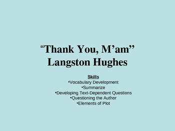 """Thank You,  M'am"" by Langston Hughes"