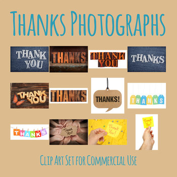 Thank You Messages of Gratitude Photos Clip Art Set for Commercial Use