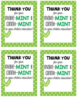 Thank You Mint Tag Curriculum Night, Conferences, Parents