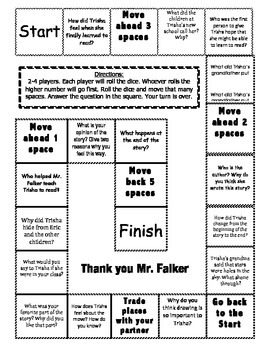 """""""Thank You Mr. Falker"""" Comprehension Game Board"""