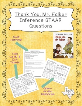 """""""Thank You, Mr. Falker"""" Inference STAAR Questions and Task Cards"""