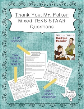 """Thank You, Mr. Falker"" Mixed STAAR Questions and Task Cards"