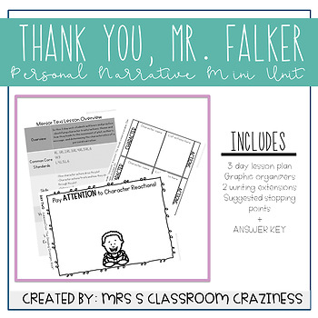 Thank You, Mr. Falker Unit of Study-Personal Narrative-Mentor Text