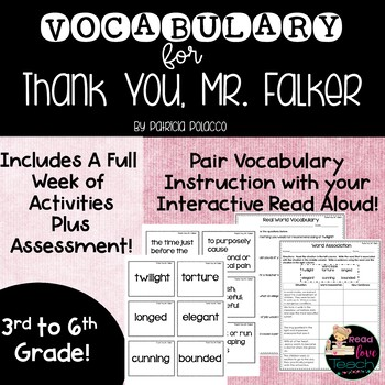 Thank You, Mr. Falker Vocabulary Lessons and Assessments