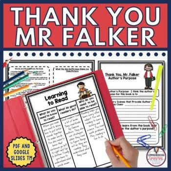 Thank You, Mr. Falker is a must read with every upper elementary class. Thank You, Mr. Falker shares the struggles children with dyslexia experience. Students will learn from this book what it's like to be learning disabled and what it's like to be bullied. Patricia Polacco tells the story of how she learned to read and just how difficult it was for her growing up. The activities in this unit are organized in before, during, and after fashion and include the following in both DIGITAL and PDF formats