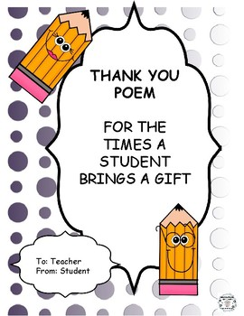 FREE Gift Thank You Note POEM Teacher to Student
