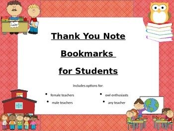 Thank You Note Bookmarks for Students