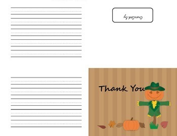 Thank You Note Cards with Primary-Grade Lines