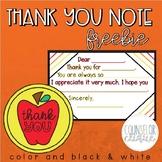 Thank You Note FREEBIE!
