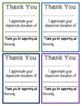 Thank You Note For Classroom Donations