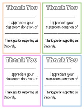 Thank you notes for donation