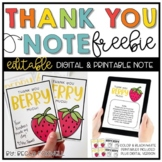 Thank You Note Freebie - EDITABLE   Printable   Digital