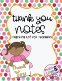 Thank You Note Tracking List for Teachers
