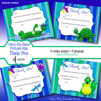Thank You Notes-Postcard style - Fill-in-the-Blank