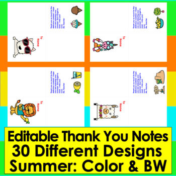 Thank You Notes for the End of the Year - EDITABLE!