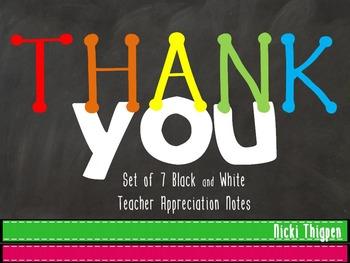 Thank You Notes--Teacher Appreciation Week