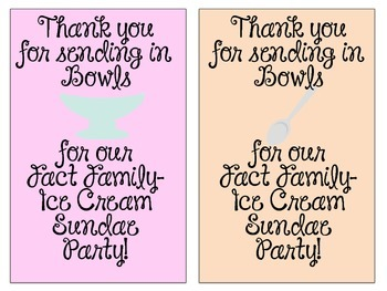 Thank You Notes for Ice Cream Sundae Party