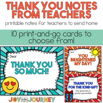 Thank You Notes From Teachers To Students Or Families Tpt