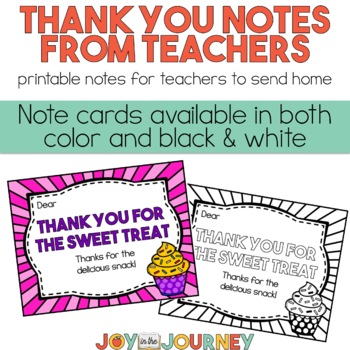 Thank You Notes from Teachers to Students