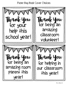 Thank You Paper Bag Book - Classroom Volunteers and Room Parents