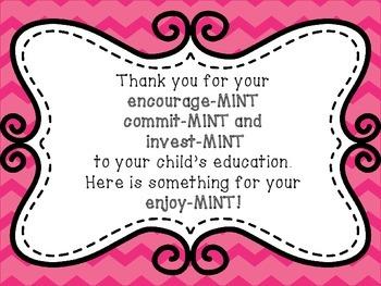 Thank You Parents Mint Sign