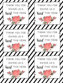 Volunteer, Thank You Printable- Give a 'Hand' FREEBIE