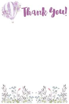 Thank You - Purple Hot Air Balloon