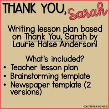 Thank You Sarah Writing Lesson FREEBIE