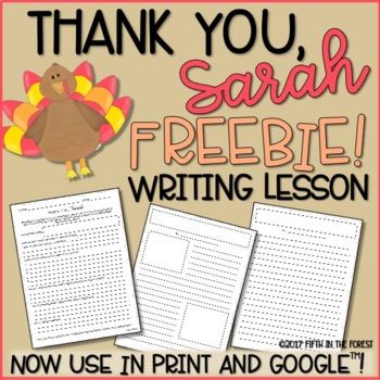 Thank You Sarah Writing Lesson FREEBIE