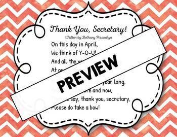 Thank You, Secretary! Original Poem/Note - Administrative Professionals' Day!