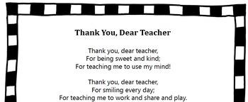 Thank You Dear Teacher/Thank You Song/Primary Grades