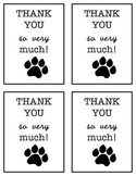 Thank You Stationary (Paw Prints)
