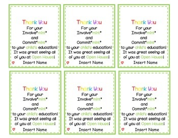 Thank You Tags for Parents from Teachers