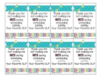 Thank You Tags for SLPs FREEBIE