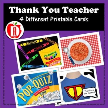 Thank You Teacher Folded Card