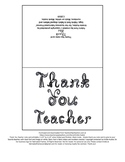 Thank You Teacher note card printable black fabric font / letters