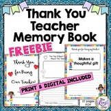 Thank You Teacher or Thank You Student Teacher Memory Book