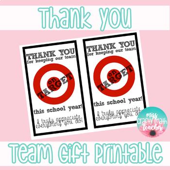 Thank You - Team of Teachers Gift Printable (Target Gift Card)