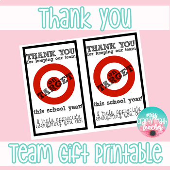 photo relating to Printable Target Gift Card named Thank Yourself - Staff of Academics Present Printable (Aim Reward Card)