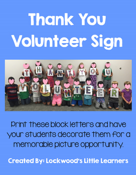 Thank You Volunteer Sign