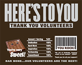 Thank You Volunteers Candy Bar Wrappers