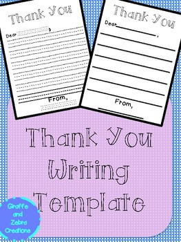 Thank You Writing Template