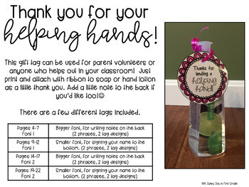 Thank You for Your Helping Hands Gift Tag {freebie!}