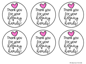 Thank You for Your Helping Hands Gift Tag