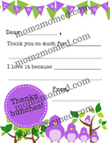 Thank You note stationary for young children, printable