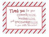 Thank You sign - parent teacher conferences